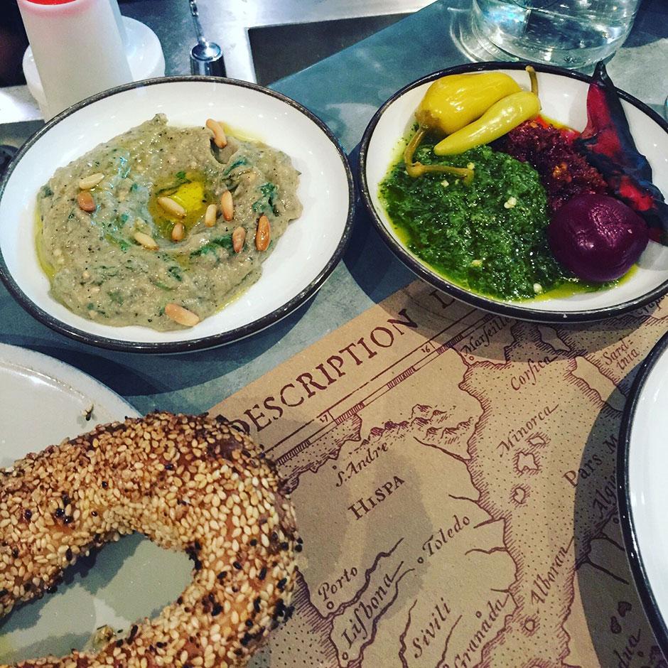 Zhug, Harrissa, Burnt & Pickled Chilli,Baba Ghanoush and Jewish bagel