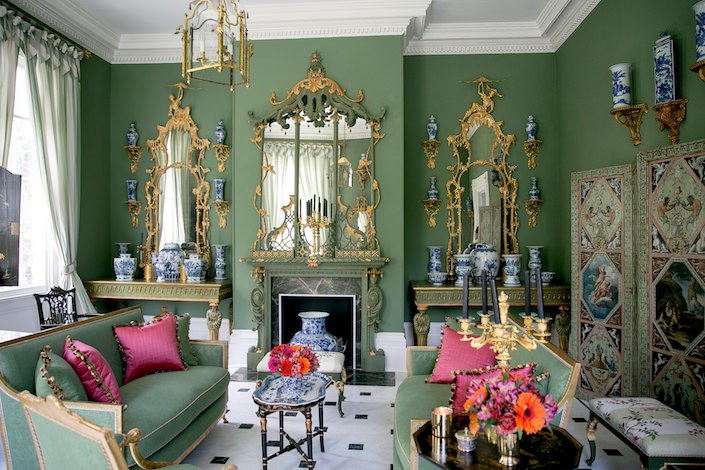 """Chinoiserie refers to the interpretation of Chinese style for a European market.  This stylistic movement reached its zenith in the 18th century period known as rococo "" - Carolyne Roehm.   Above and below are photos of ""The Chinoiserie Room"" Carolyne created in her 18th century Greek Revival Charleston home, Chisolm House"