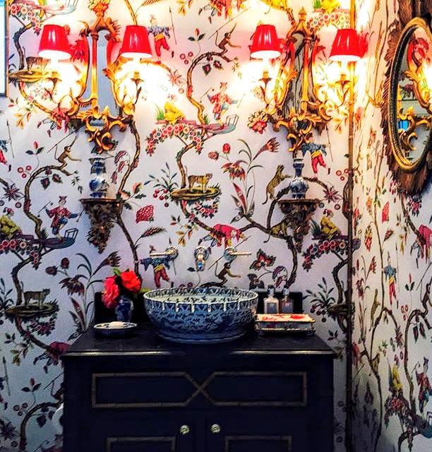Loving this wallpaper and the red lacquer shades are perfect in the powder room at Chisolm House -   photography Cote de Texas blog