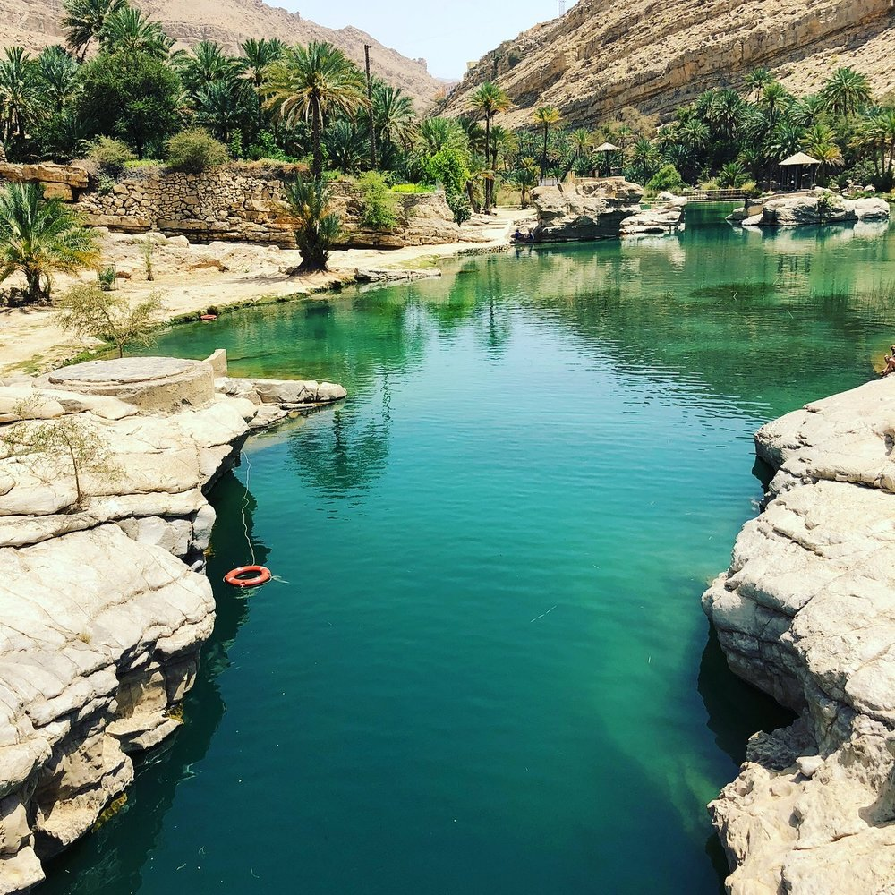 Wadi Tiwi waterhole - an unexpected find among the rocky crevices and a perfect place for a swim to escape the unrelenting heat