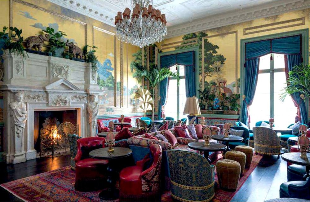 The Elephant room with its elaborate namesake scenic de Gournay wallpaper overlooks Berkeley Square