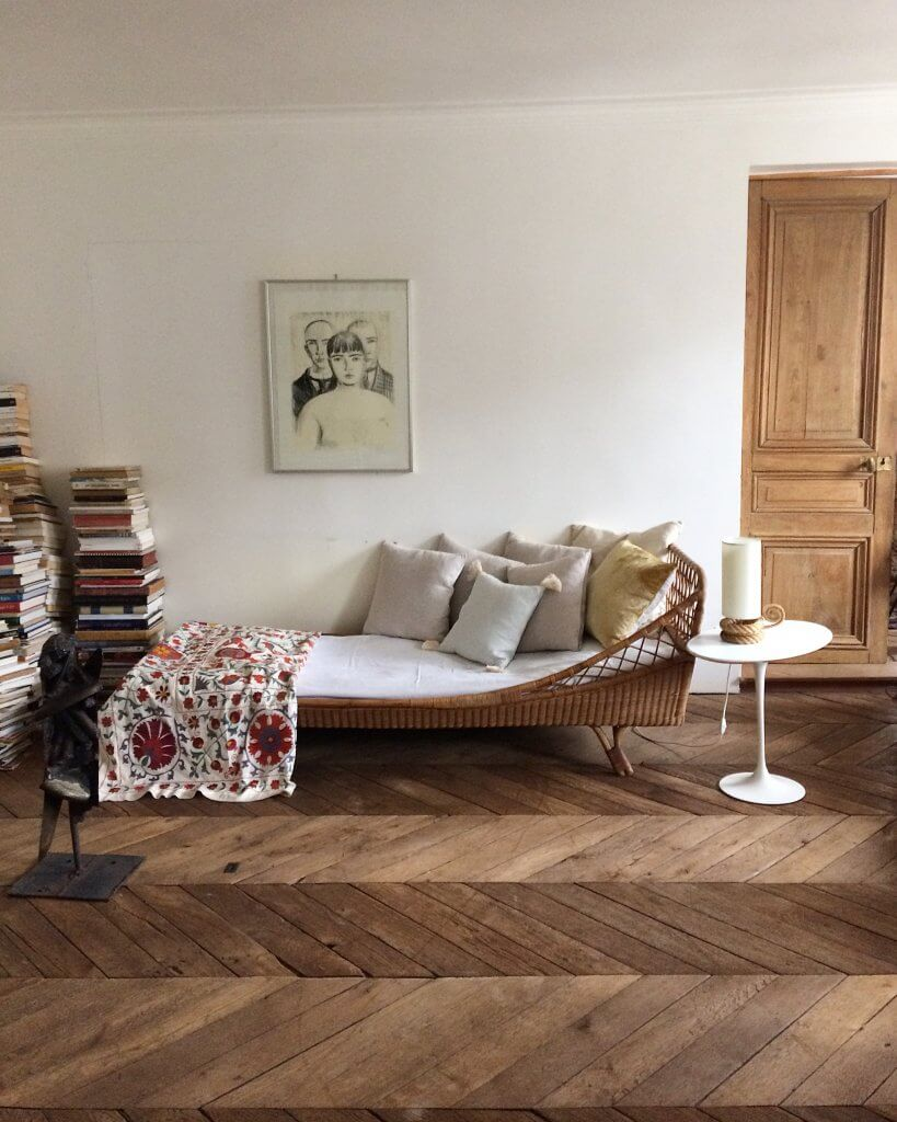 Loving these gorgeous herringbone floors and that Suzani pops up again for a dash of color