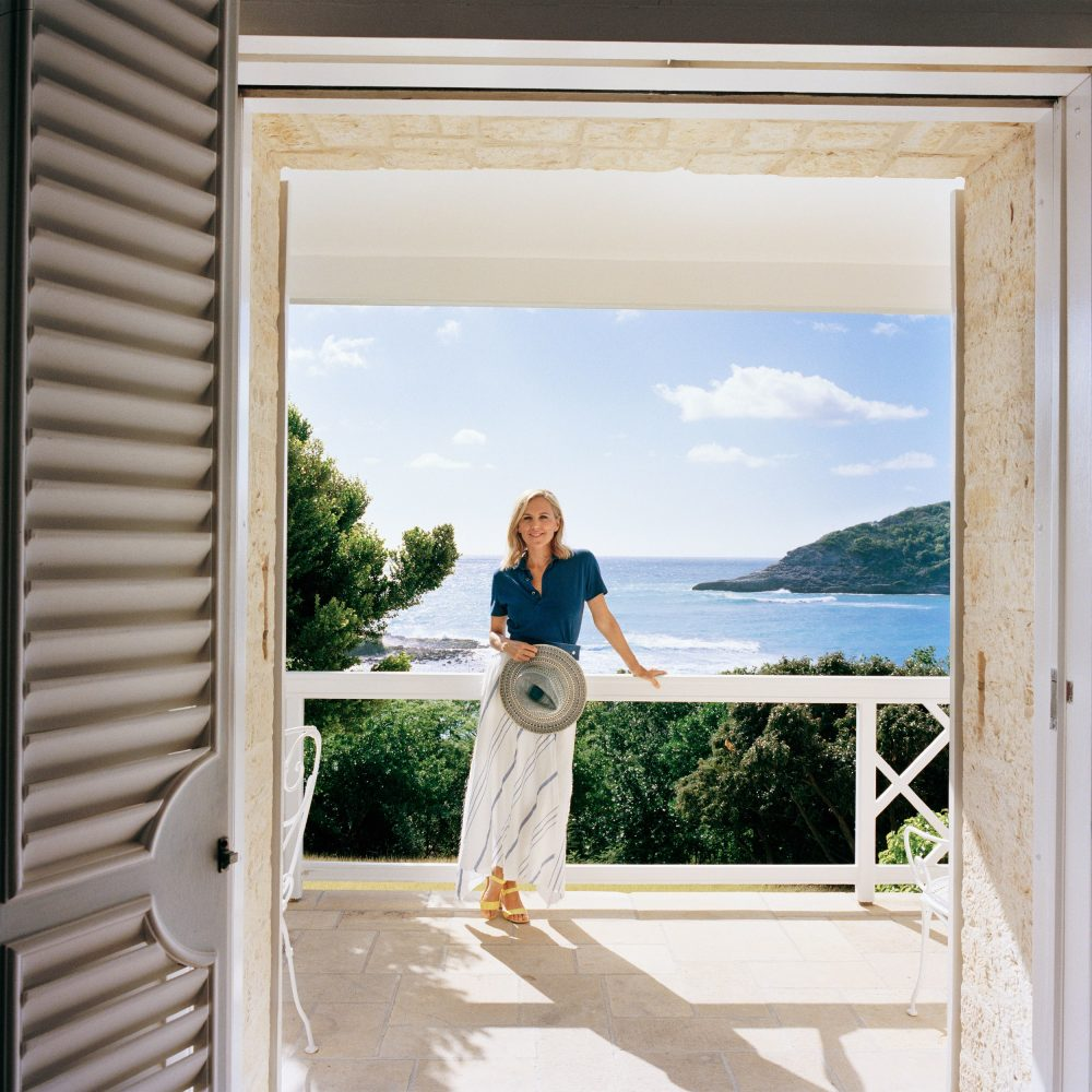 Tory Burch enjoys her veranda overlooking the spectacular bay