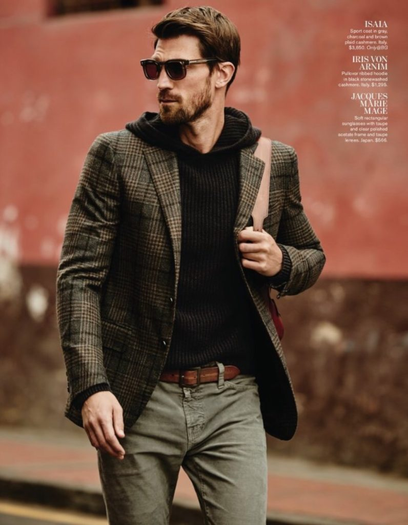 Love the hoodie layered underneath this  Isaia  sport jacket - rugged yet chic!