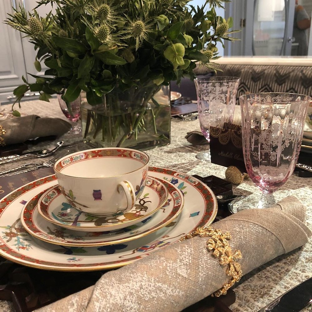 Herend's Chinois china service and crystal glassware from Replacements Ltd.; napkin and placemat from Kim Seybert; napkin ring and place-card holder from L'Object