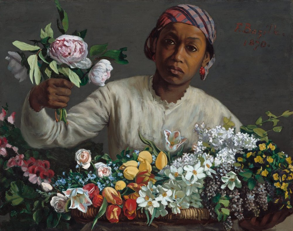 "Frédéric Bazille, ""Young Woman with Peonies,"" 1870 - National Gallery of Art Washington DC"