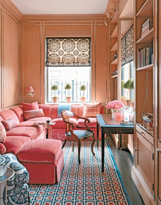 Inspired mix of patterns in pink and blue pull the room together