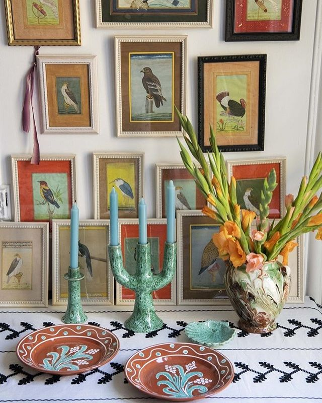 caroline-irving-and-daughters-home-place-setting-table-plates-candlesticks-indian-bird-paintings-miniatures.jpg