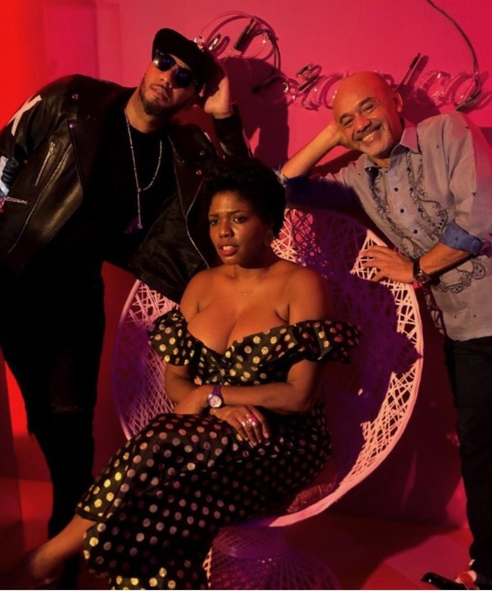 Ebony G Patterson with Swizz Beatz and Christian Louboutin celebrating at Perez Art Museum Miami