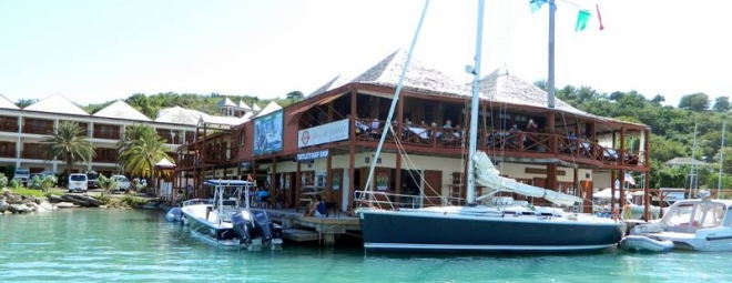 Cloggys restaurant  takes center stage on the waterfront of the Antigua Yacht Club & Marina