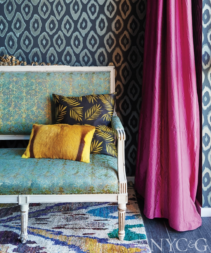 This vignette features 5 patterns which don't necessarily say let's be together - however the gold highlighted throughout hangs it all together