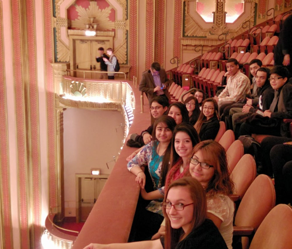 Schurz Choruses visit Lyric Opera of Chicago. Anxiously waiting to see student matinee of La Traviata