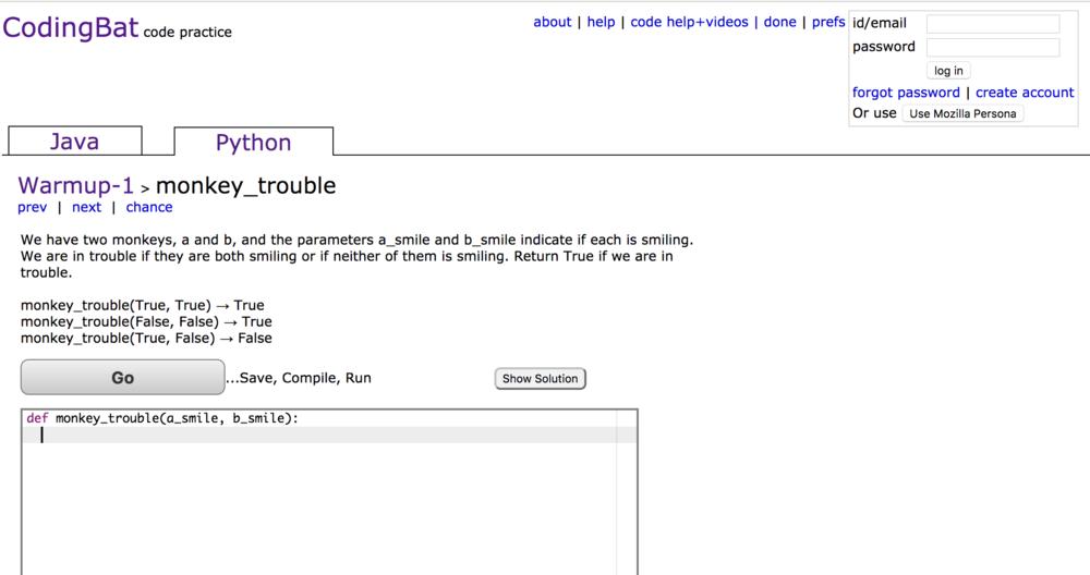 Coding Bat Screenshot