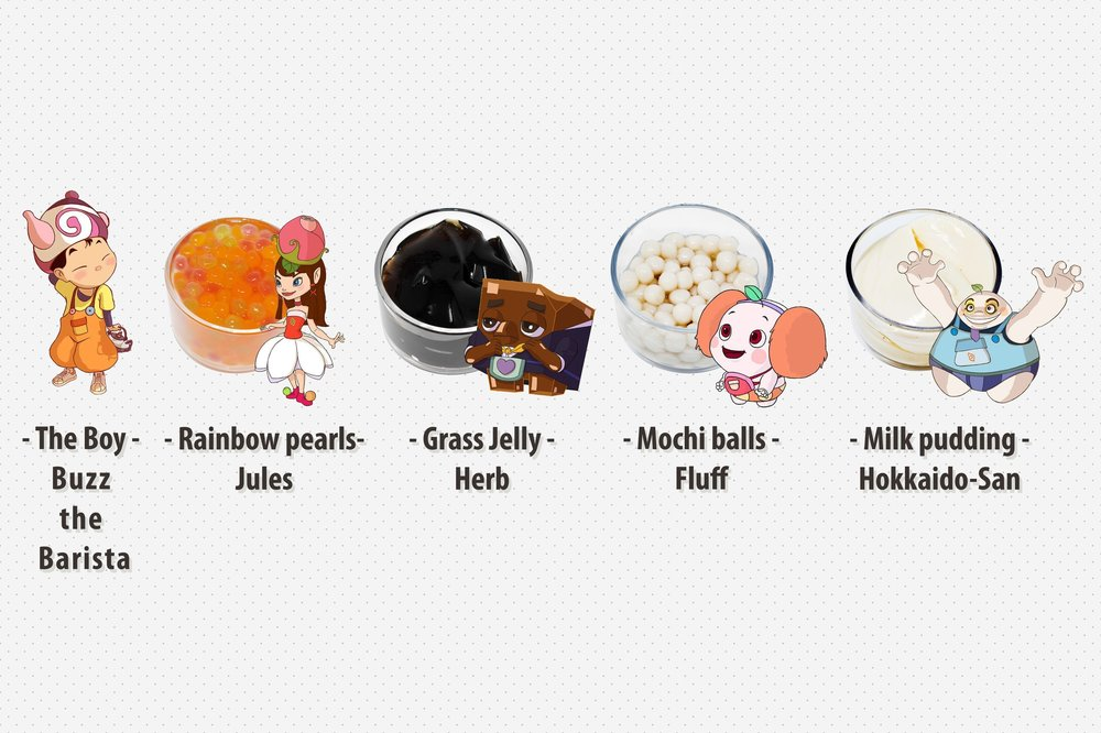 Meet the advocates of One Tea's toppings. From Buzz the Barista to mochi ball enthusiast Fluff, there's a character for all of your favorite toppings! Let Jules introduce you to our one-of-a-kind rainbow pearls; they're beautiful and delicious!