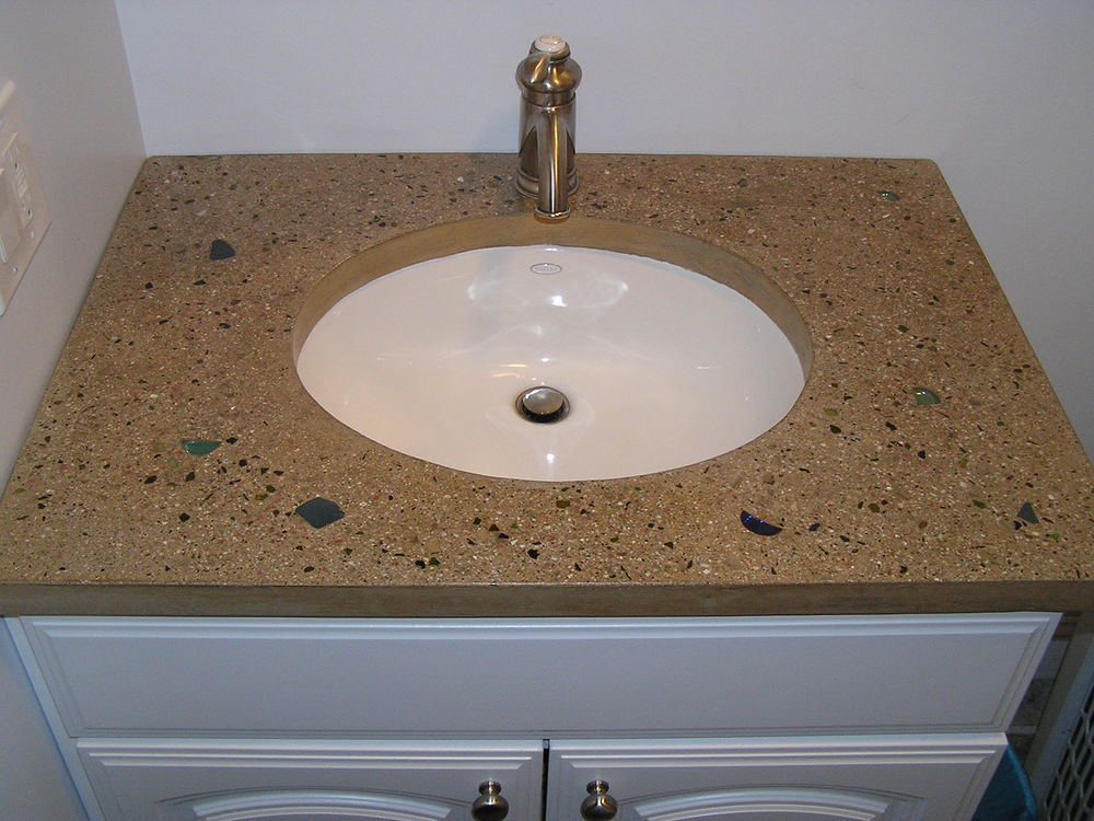 Bathroom Sink Countertop With Glass/aggregate Mix.