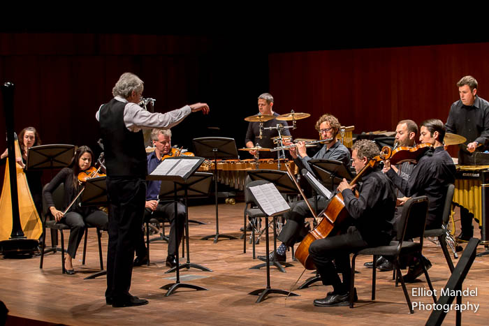 "Cliff Colnot conducts the Pacifica Quartet and eighth blackbird in the world premiere of Gunther Schuller's ""Four Chromatic Adventures."""