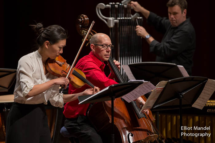 "Yvonne Lam, Collins Trier, and Doug Perkins perform the world premiere of Sofia Gubaidulina's ""Pilgrims."""