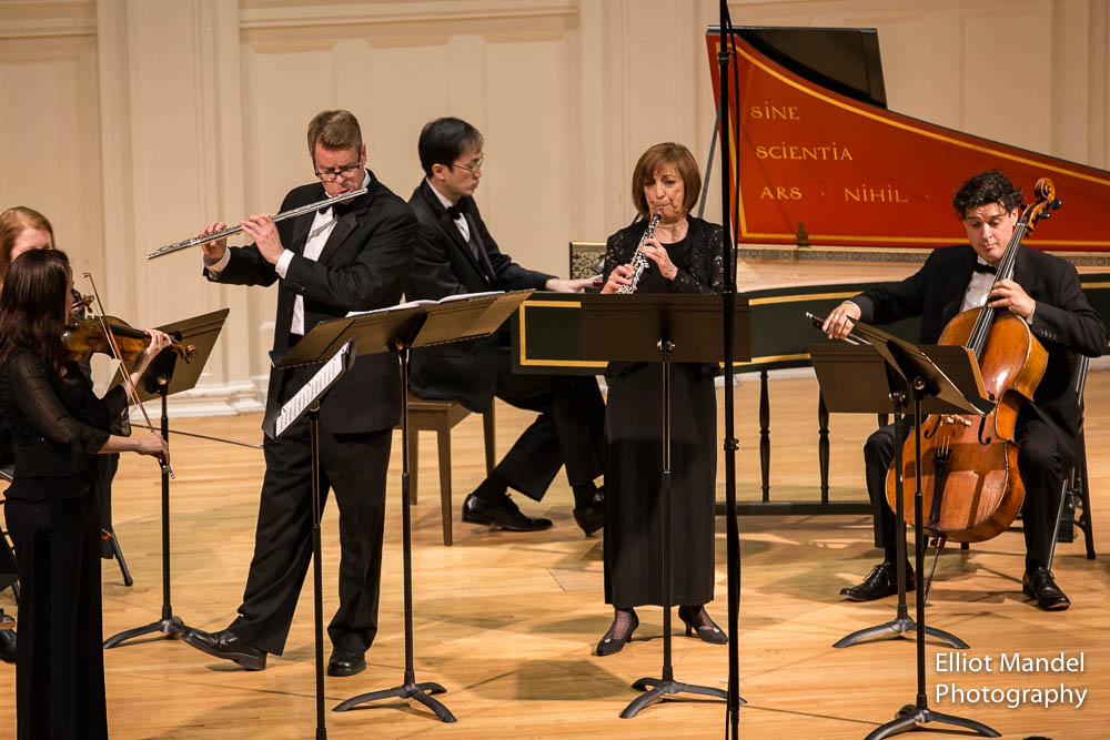 Violinist  Renée-Paule Gauthier, flutist John Thorne, oboist Judith Kulb, with Jason Moy and David Cunliffe