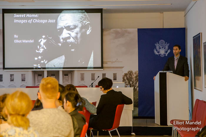 Presenting jazz photos at the American Embassy in Vienna