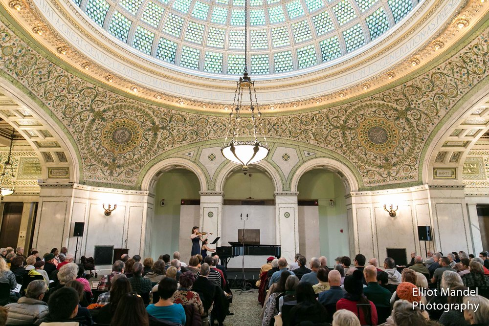 Kate Carter and Louise Chan perform on the Dame Myra Hess series at the Chicago Cultural Center.