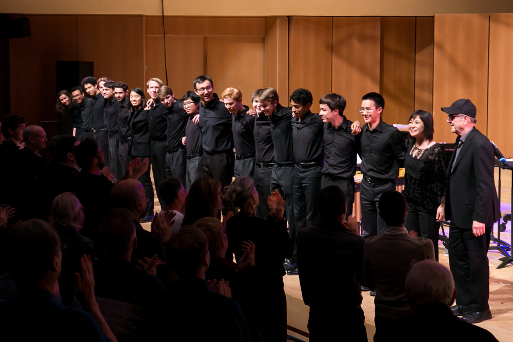 Steve Reich takes a bow with percussion ensembles at Northwestern University.