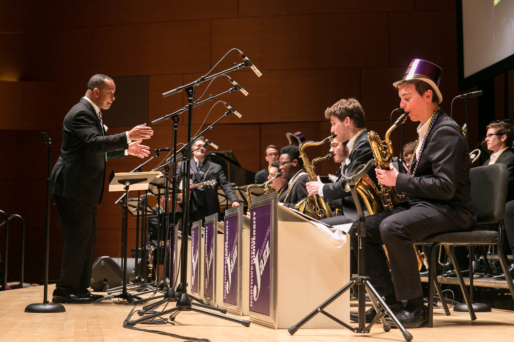 Victor Goines leads the Northwestern University Jazz Orchestra on Mardi Gras, February 13, 2018.