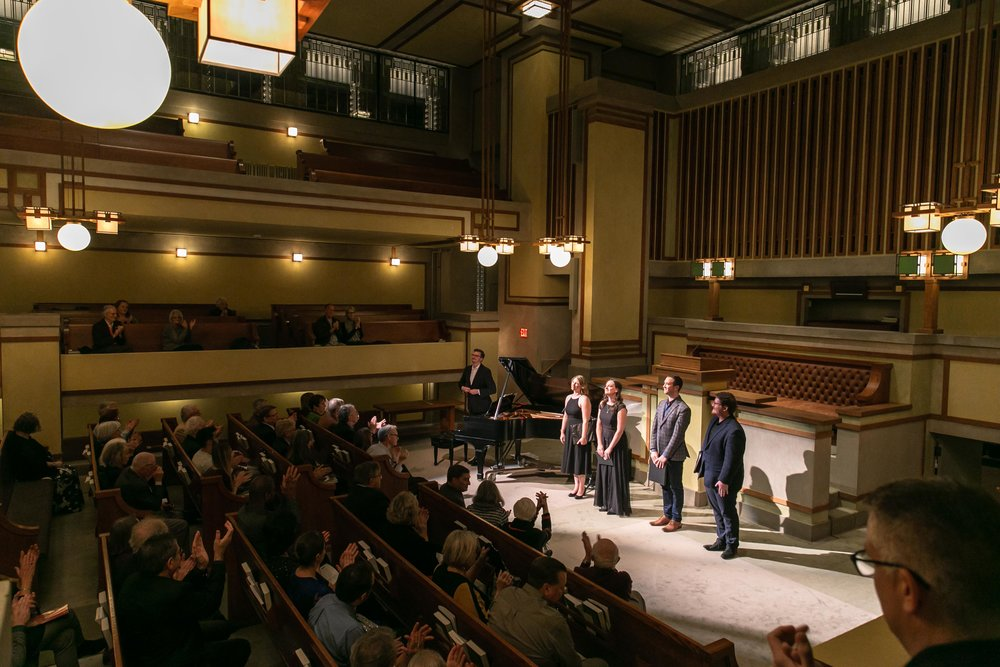 Fourth Coast Ensemble opens its 5th season in Frank Lloyd Wright's stunning Unity Temple (Nov 2, 2018).