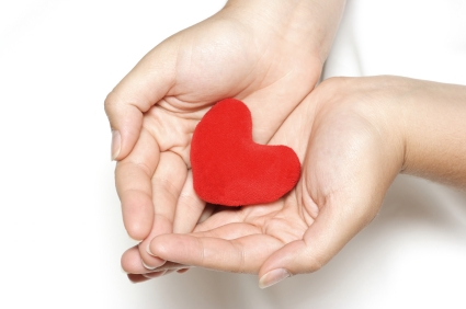 Purple heart in the hands