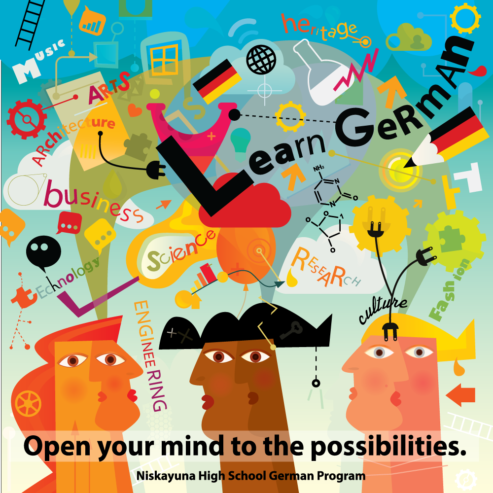 We like to think outside the box, so we teamed up with a talented artist to create this original poster for our German Program. The message, however, is universal: Learning German is helpful with so many areas of study.