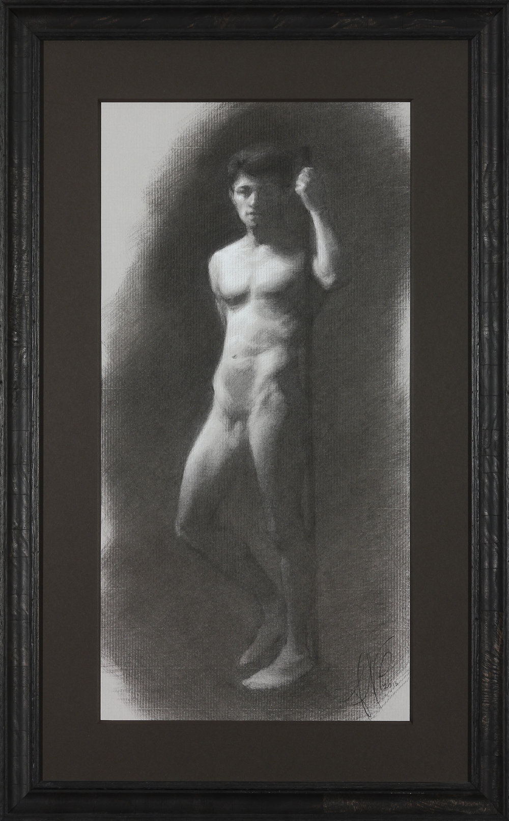 "Figure Drawing (Sunday Night Class) ~ ANP ""Male Figure Study"" Nitram Charcoal & White Chalk on Grey Roma Paper FRAMED WITH PLEXIGLASS = 32"" x 20"" $650"
