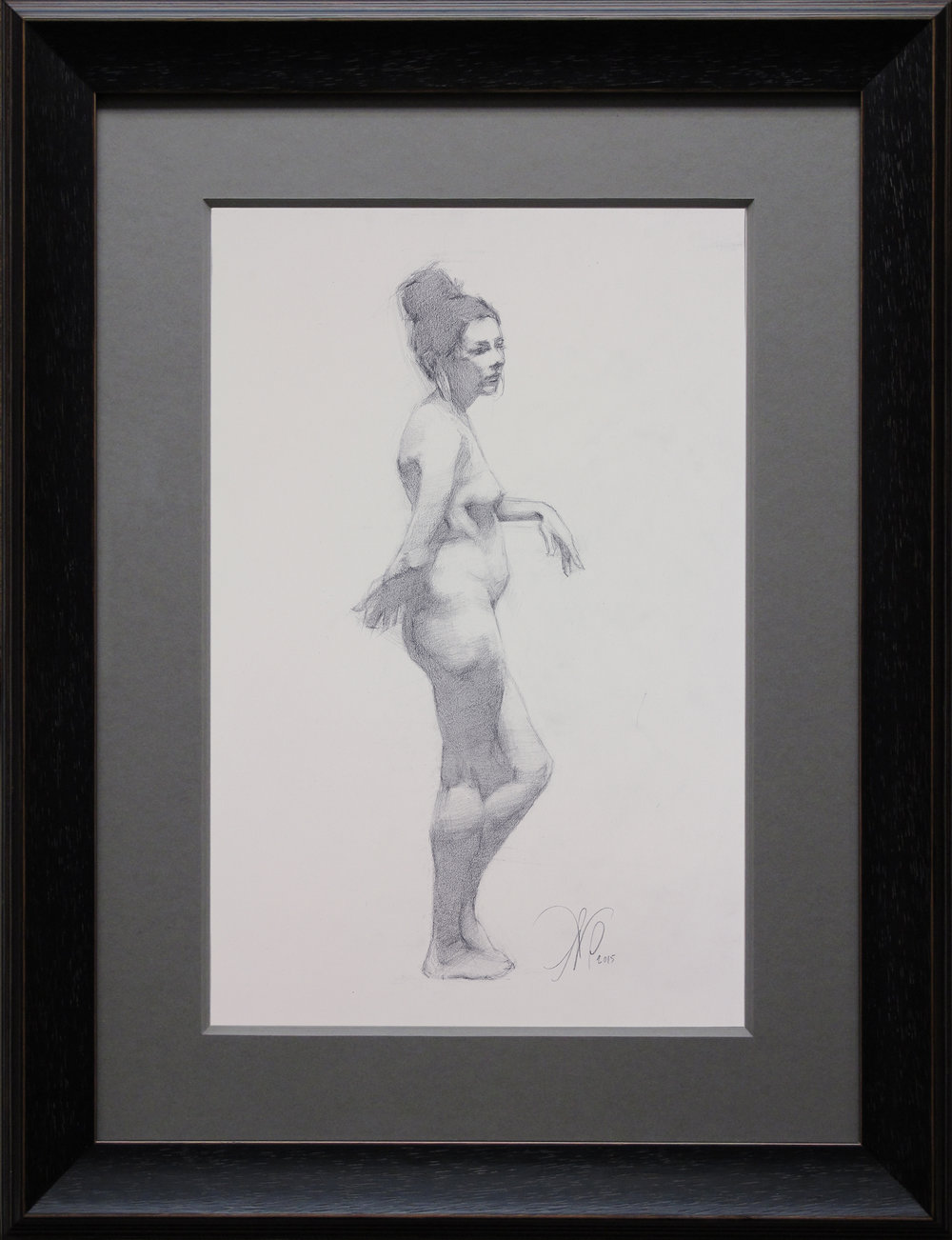 "Figure Drawing (Friday Night Class) ~ ANP ""Female Figure Study"" Graphite  on White Stonehenge Paper FRAMED WITH PLEXIGLASS = 19"" x 15"" $300"