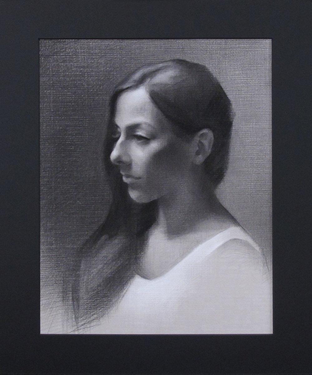 "Portrait Drawing (Monday Night Class) ~ JH ""Female Head Study"" Nitram Charcoal & White Chalk on Grey Roma Paper Image Size = 14"" x 11"" Mat Size = 18"" x 15"" $525"