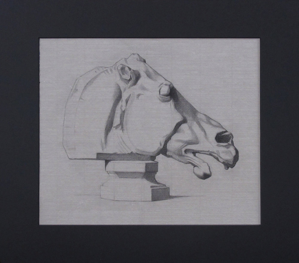 "Bargue Drawing (Wednesday Night Class) ~ JH ""Head of a Horse, Parthenon"" Nitram Charcoa on Grey Roma Paper Image Size = 10"" x 12"" Mat Size = 14"" x 16"" $225"