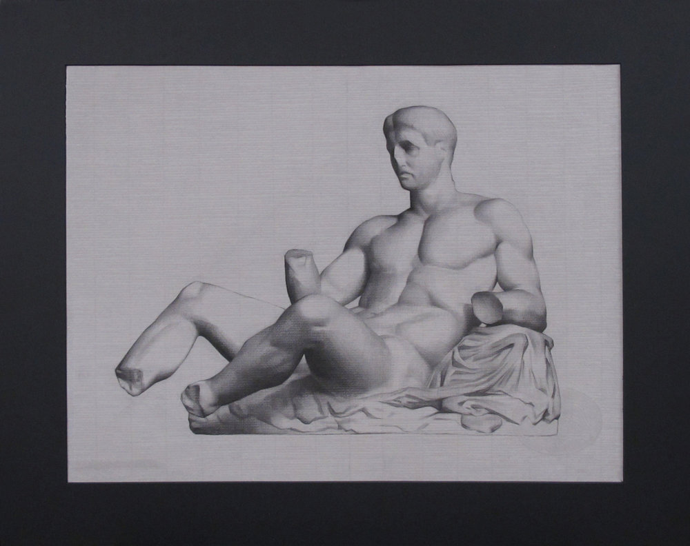 "Bargue Drawing (Wednesday Night Class) ~ JH ""Theseus from the Parthenon"" Nitram Charcoal on Grey Roma Paper Image Size = 18"" x 24"" Mat Size = 24"" x 30"" $300"