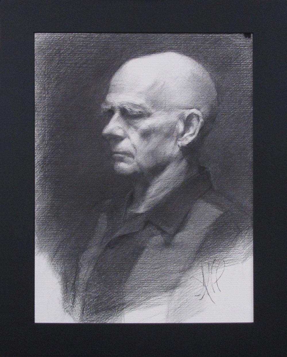 "Portrait Drawing (Monday Night Class)~ ANP ""Male Head Study"" Nitram Charcoal on White Roma Paper Image Size =16"" x 12"" Mat Size =20"" x 16"" $525"