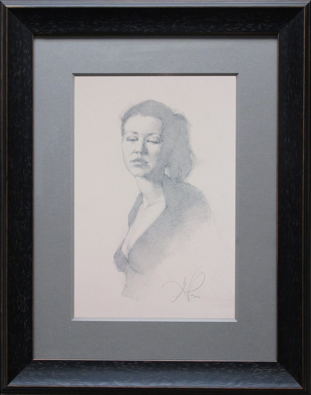 "Portrait Drawing (Friday Night Class) ~ ANP ""Female Portrait Study"" Graphite  on Toned Stonehenge Paper FRAMED WITH PLEXIGLASS = 17"" x 13"" $250"