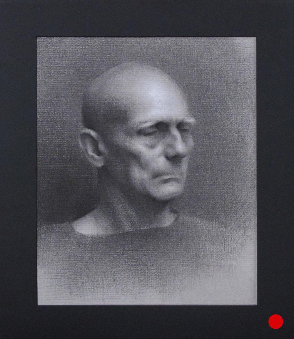 """Portrait Drawing (Monday Night Class) ~ JH """"Male Head Study"""" Nitram Charcoal & White Chalk on Grey Roma Paper Image Size = 14"""" x 11"""" Mat Size = 18"""" x 15"""" $525"""