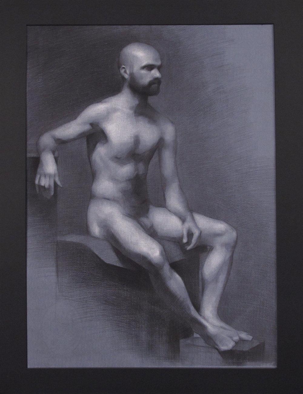 """Figure Drawing (Sunday Night Class)~ JH """"Male Figure Study"""" Nitram Charcoal & White Chalk on Blue Roma Paper Image Size =25"""" x 18"""" Mat Size =29"""" x 22"""" $575"""