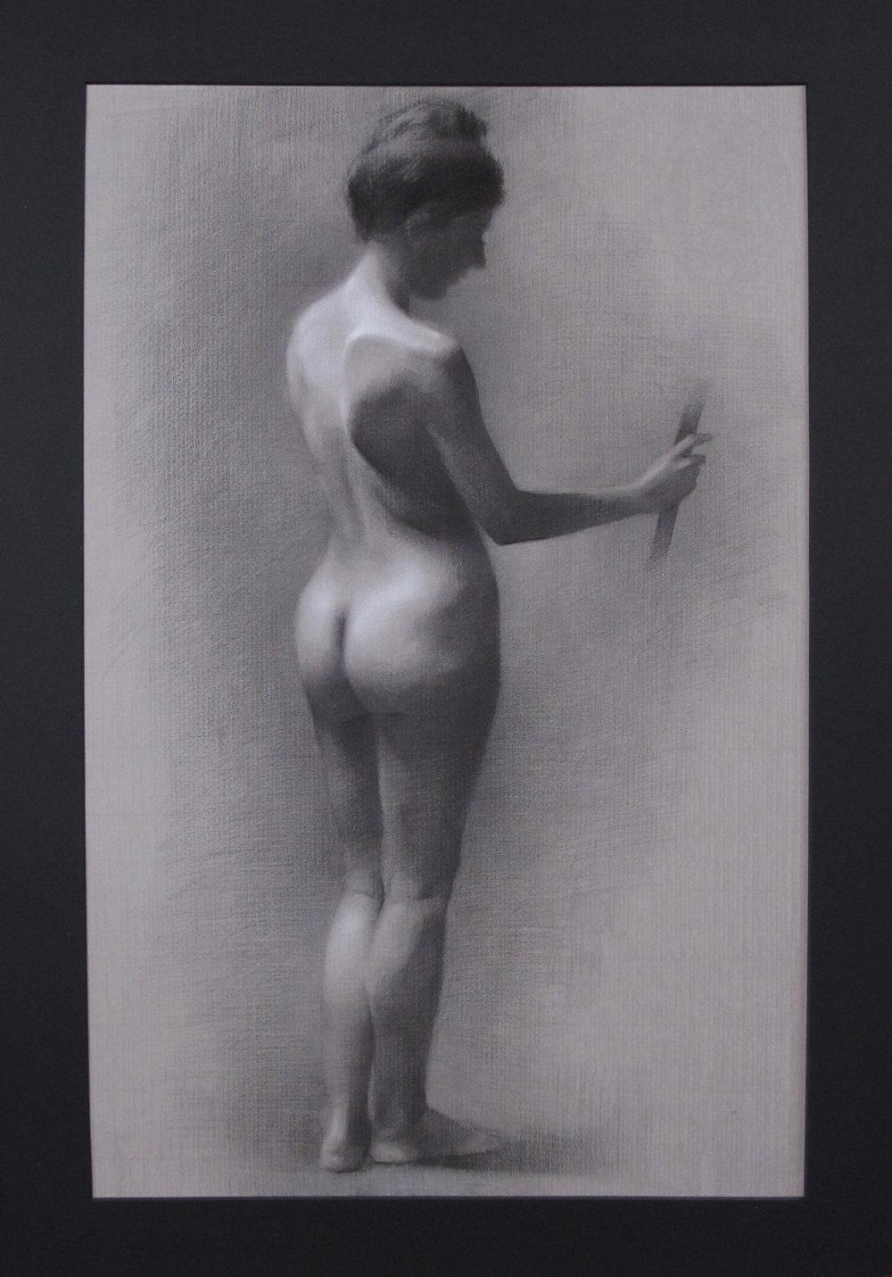 """Figure Drawing (Sunday Night Class)~ JH """"Female Figure Study"""" Nitram Charcoal & White Chalk on Grey Roma Paper Image Size =25"""" x 16"""" Mat Size =29"""" x 20"""" $575"""
