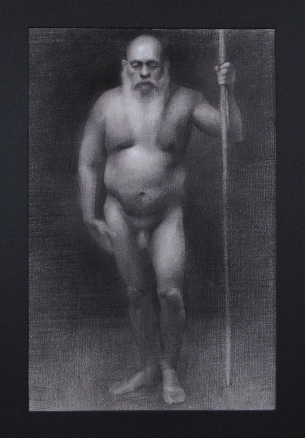 """Figure Drawing (Sunday Night Class)~ JH """"Male Figure Study"""" Nitram Charcoal & White Chalk on Grey Roma Paper Image Size =25"""" x 16"""" Mat Size =29"""" x 20"""" $575"""