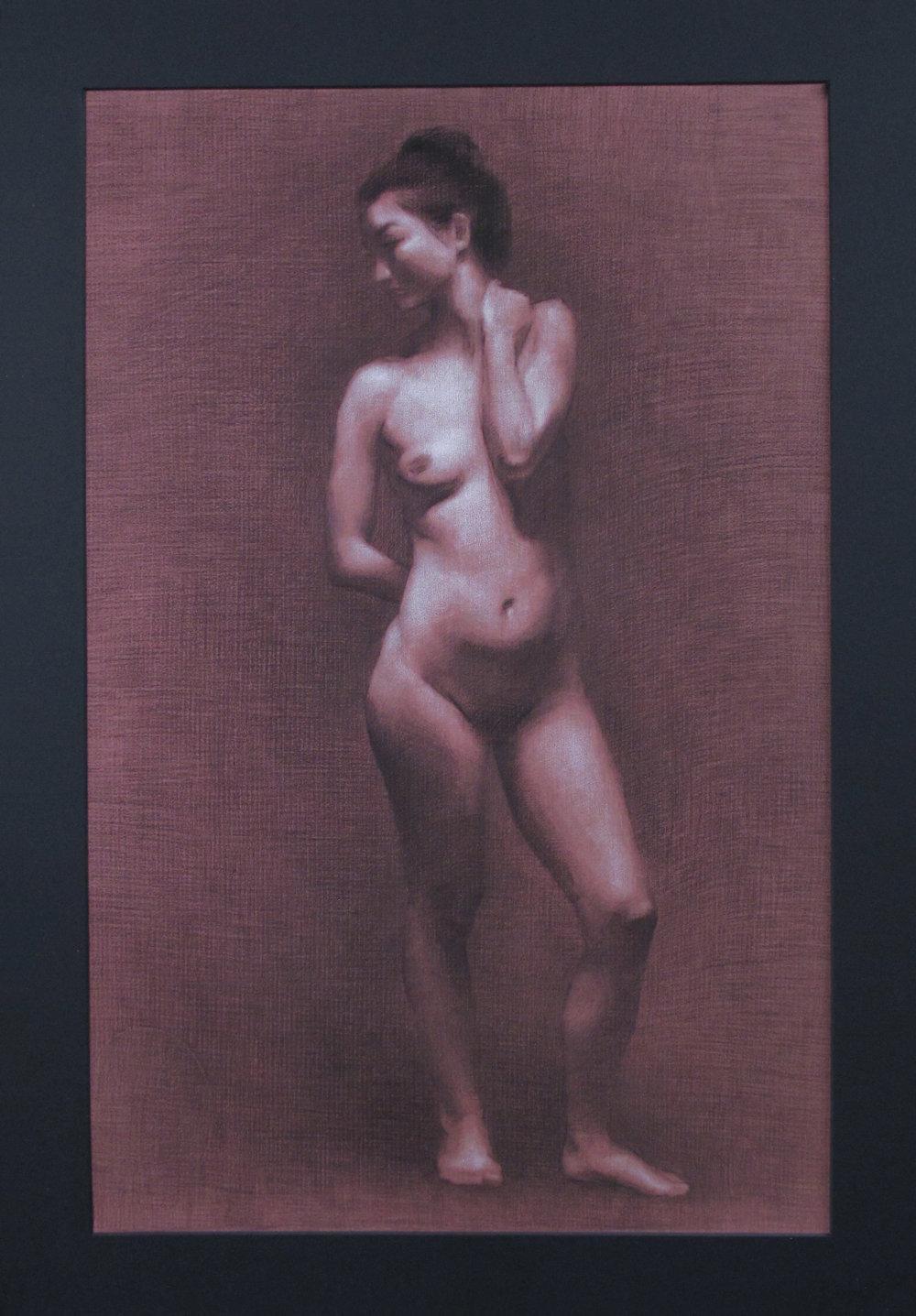 """Figure Drawing (Sunday Night Class)~ JH """"Female Figure Study"""" Nitram Charcoal & White Chalk on Red Roma Paper Image Size =25"""" x 16"""" Mat Size =29"""" x 20"""" $575"""