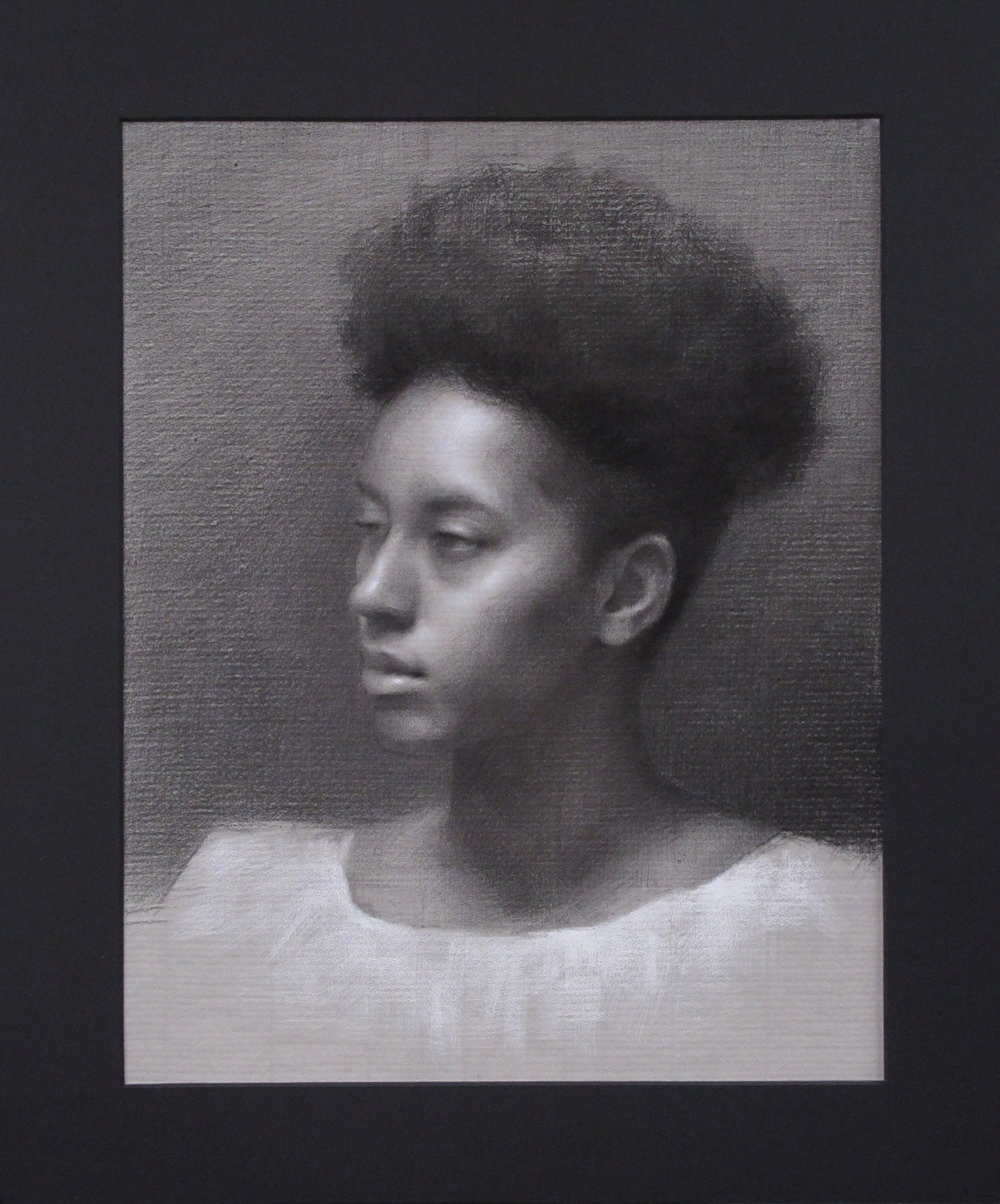 "Portrait Drawing (Monday Night Class) ~ JH ""Female Head Study"" Nitram Charcoal & White Chalk on Grey Roma Paper Image Size = 15"" x 12"" Mat Size =19"" x 16"" $525"