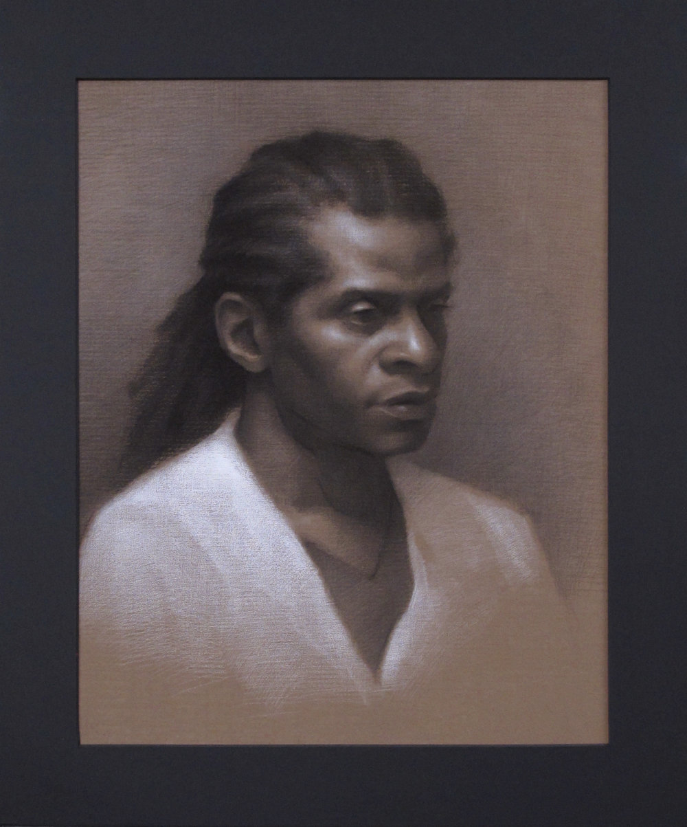 "Portrait Drawing (Monday Night Class)~ JH ""Male Head Study"" Nitram Charcoal & White Chalk on Brown Roma Paper Image Size =15"" x 12"" Mat Size =19"" x 16"" $525"