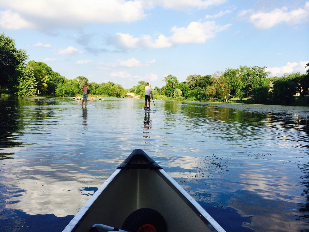 Canoeing the canal between Cedar Lake and Lake of the Isles in Minneapolis