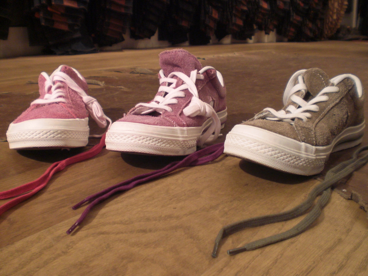 We now have in stock the latest colors of our collaboration with Converse on their One Star style: pink, purple, and olive green.  They've been washed by Alex at our 14th street store.   You know, the usual business.