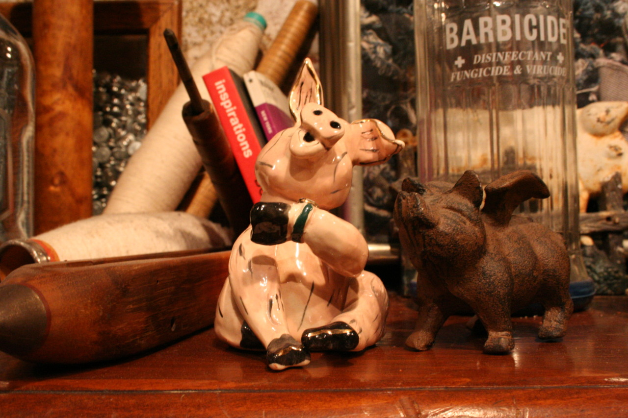 One of the many pigs in the shop. This guy actually plays a song when you wind him up.  Eric chose the pig as the mascot as an homage to the Meatpacking District, home of our flagship store. Also, because it looks cool.