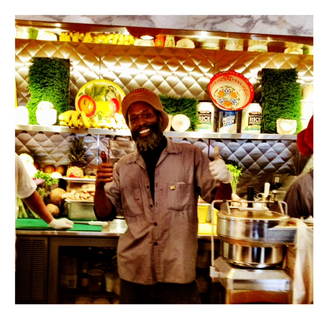 The juice bar @ Miss Lily's.  Melvin Major is one of the most famous juice guys in town.  We are obsessed.