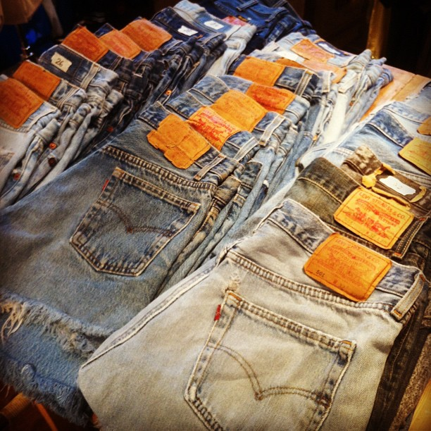 amervint: Cutoffs are baaack! Waist sizes 26-36 inches. 250 kr. #cutoffs #vintagedenim #denim #vintage #Americana #vintageclothing #levis #501 #gamlabrogatan #stockholm #sweden (Taken with Instagram at AMERICANA Classic Vintage)