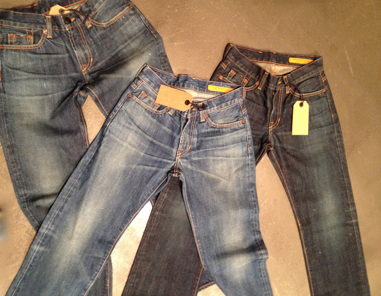 This is new wash development for our Fall/Winter season.  These are simply the best vintage washes that I have ever seen. I often post shots of Jean Shop vintage jeans that we take back on trade but these are new jeans.  They will be in the shop during the fall.