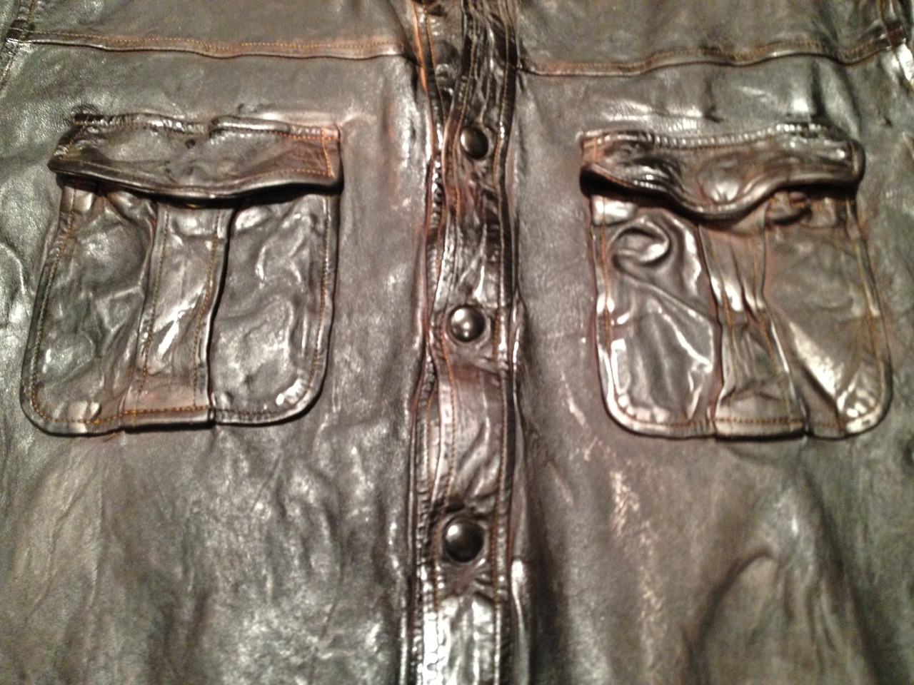Beautiful hand dyed leather jacket with amazing contrasting details. The color is layered onto the skin in three different steps.